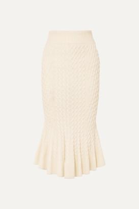Alexander McQueen Cable-knit Linen-blend Midi Skirt - Cream