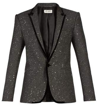 Saint Laurent - Sequin Embellished Velvet Trim Tuxedo Jacket - Mens - Black