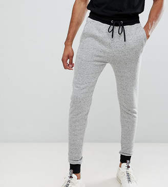 Asos DESIGN tall skinny joggers in gray nep with contrast cuffs and waistband