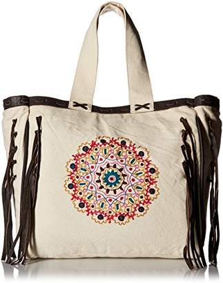Ale By Alessandra 'ale by alessandra Women's Mandala Oversized Embroidered Canvas Tote