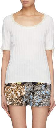 3.1 Phillip Lim Lace-up sleeve frayed rib knit wool sweater