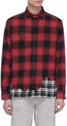 R 13 Frayed hem colourblock patchwork check plaid flannel shirt