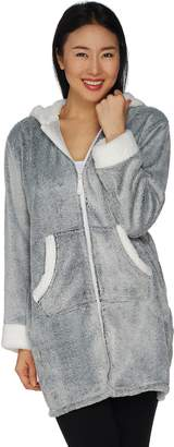 Cuddl Duds Frosted Fleece Zip-Up Robe with Sherpa Trim