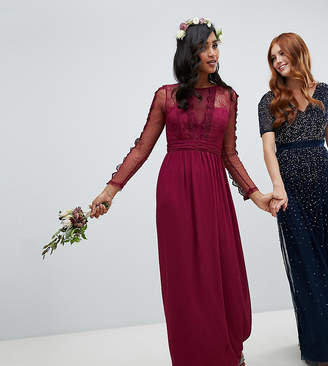 TFNC lace detail bridesmaid maxi dress in burgundy