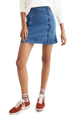 Madewell Asymmetrical Stretch Denim A-Line Miniskirt