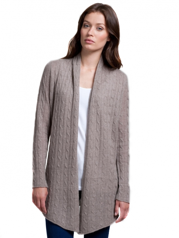 Cashmere Cable Open Cardigan