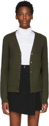 Carven Green Contrast Stitch Cardigan