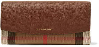 Burberry Textured-leather And Checked Canvas Wallet - Tan