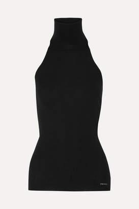 Prada Ribbed Wool-blend Halterneck Top - Black