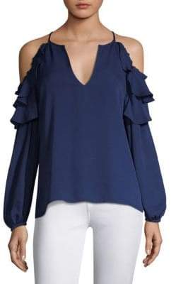 Parker Abby Cold-Shoulder Ruffle Top