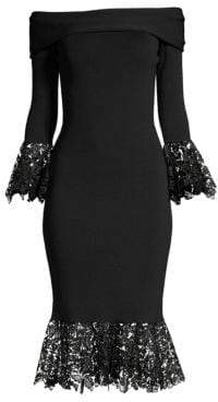 Sachin + Babi Relais Knit Lace-Trim Bell Sleeve Flounce Sheath Dress