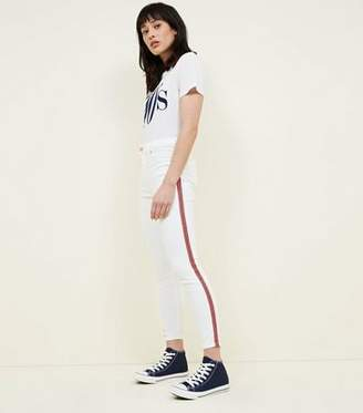 New Look White Side Stripe High Rise Super Skinny Dahlia Jeans