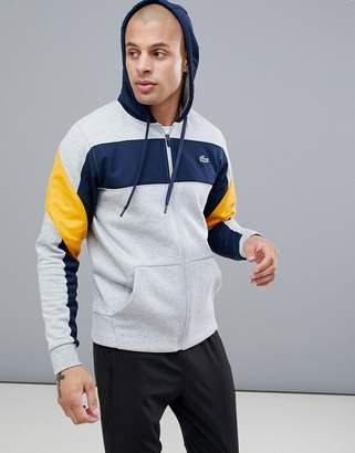 Lacoste Sport hoodie color block sweat in gray