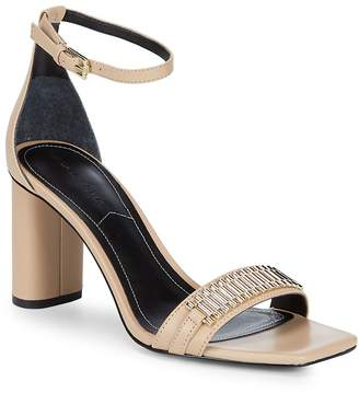 KENDALL + KYLIE Women's Block Heel Ankle Strap Leather Sandals