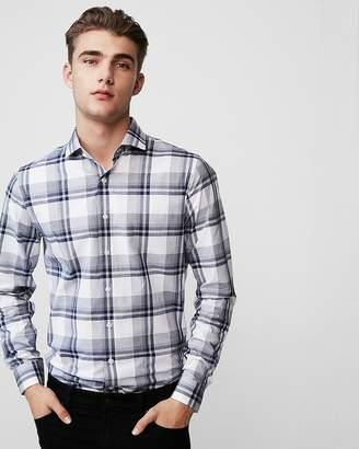 Express Extra Slim Plaid Cotton Dress Shirt