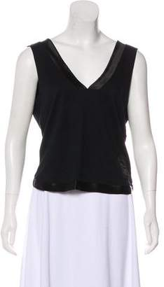 Christian Dior Satin-Trimmed Sleeveless Top