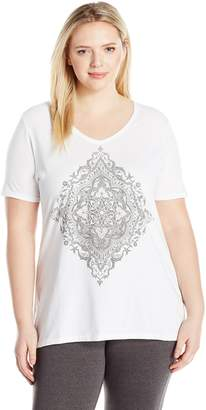 Just My Size Women's Plus Size Printed Short-Sleeve V-Neck T-Shirt