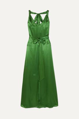 Temperley London Darling Belted Silk-blend Satin Maxi Dress - Green