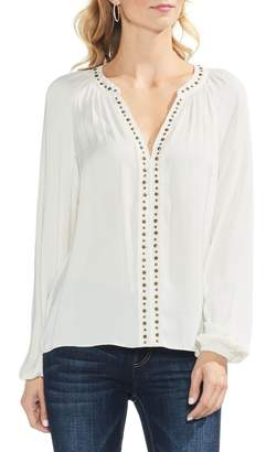 Vince Camuto Stud Detail Hammered Satin Blouse