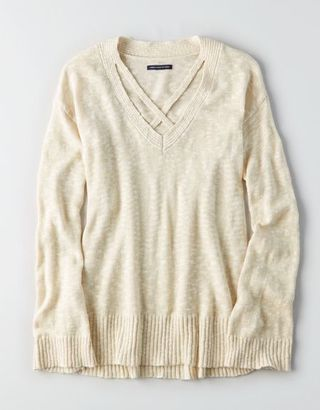 American Eagle Outfitters AE Strappy V-Neck Sweater $44.95 thestylecure.com