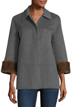 Neiman Marcus Luxury Double-Faced Cashmere Cropped Jacket w/ Rabbit Fur Cuffs