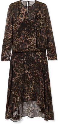 Preen by Thornton Bregazzi Andrea Leopard-print Devoré-satin Midi Dress - Leopard print