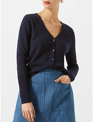 Jigsaw Cotton Cashmere V-Neck Cardigan, Navy
