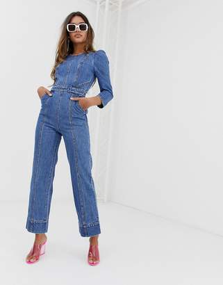 7d67c0404f17 Miss Sixty denim jumpsuit with puff fleeve detail