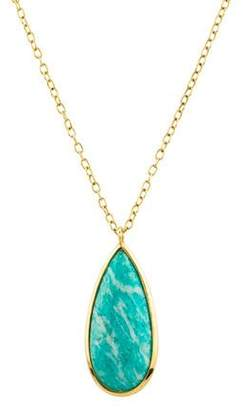 Elizabeth Showers 18K Amazonite & Mother of Pearl Pendant Necklace