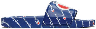 Champion Reverse Weave Blue Repeat Logo Slides