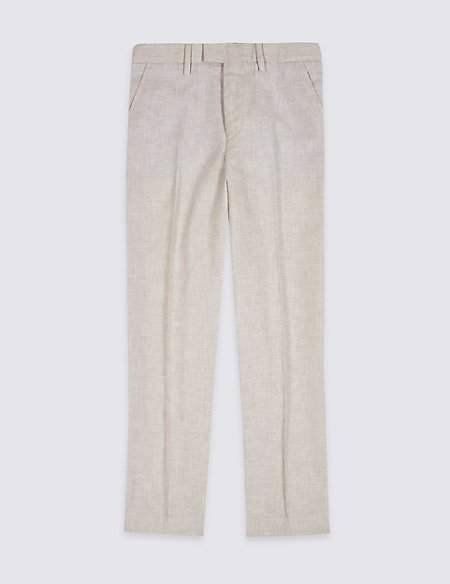 Cotton Blend Textured Trousers (3-16 Years)