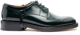 Lanvin Stirrup Effect Leather Derby Shoes - Mens - Green
