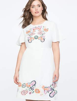 ELOQUII Embroidered Flutter Sleeve Dress