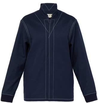 Marni High Neck Zip Through Jersey Overshirt - Mens - Indigo