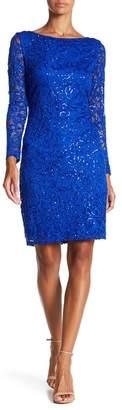 Marina Long Sleeve Lace Sequin Dress