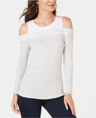 INC International Concepts Inc Ribbed Cold-Shoulder T-Shirt