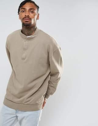 Asos DESIGN Half Snap Oversized Sweatshirt