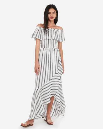 Express Striped Off The Shoulder Ruffle Wrap Front Maxi Dress