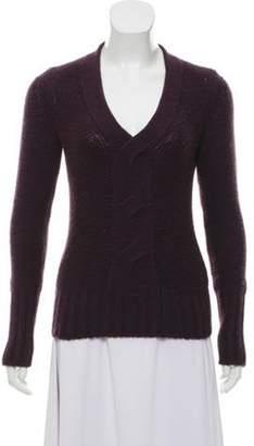 Loro Piana Cashmere Long Sleeve Sweater Purple Cashmere Long Sleeve Sweater