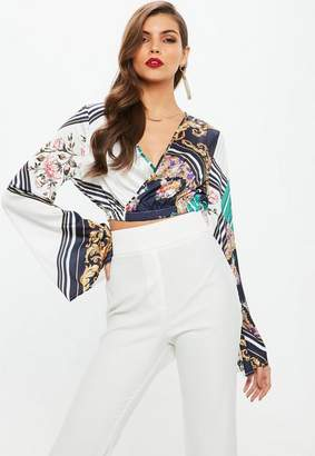 Missguided Blue Satin Wrap Over Crop Flare Sleeve Blouse
