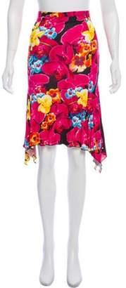 Versace Floral Asymmetrical Skirt Magenta Floral Asymmetrical Skirt