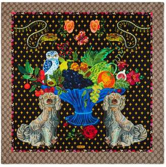 Gucci Spaniel dogs and vase print silk scarf