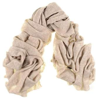 Black Oversized Honey Beige Cashmere Knit Scarf