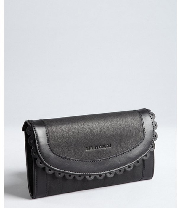 See by Chloe black leather doily detail snap flap continental wallet