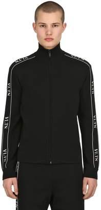 Valentino Vltn Viscose Knit Zip-Up Track Jacket