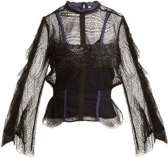 Jonathan Simkhai Bell-sleeved layered-lace blouse