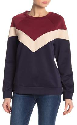 Lucca Couture Cardinal Chevron Colorblock Crew Neck Sweater