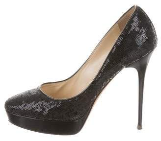 Jimmy Choo Sequined Round-Toe Pumps