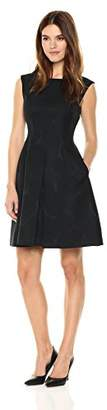 Anne Klein Women's Jacquard Inverted Pleat FIT and Flare Dress