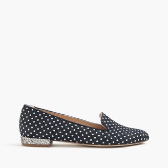 Polka-dot denim loafers with glitter heel $228 thestylecure.com